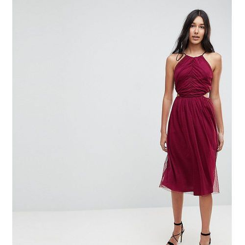 dobby high neck midi dress with cut out sides - red marki Asos tall