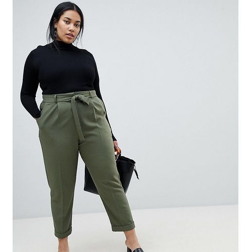 Asos design curve woven peg trousers with obi tie - green marki Asos curve