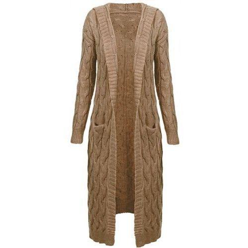 Długi sweter z kapturem i kieszeniami karmelowy (111art) - brązowy marki Made in italy