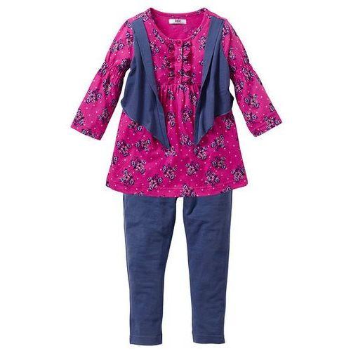 Sukienka + legginsy (kompl. 2-częściowy) bonprix fuksja - niebieski indygo (sukienka dziecięca)