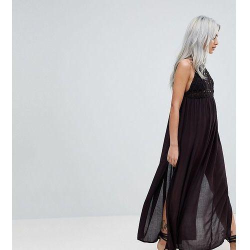 Asos design petite premium crochet panel maxi beach dress - black marki Asos petite