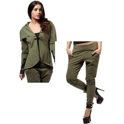 Zestaw Żakiet z dzianiny dresowej oraz spodnie khaki, kolor zielony