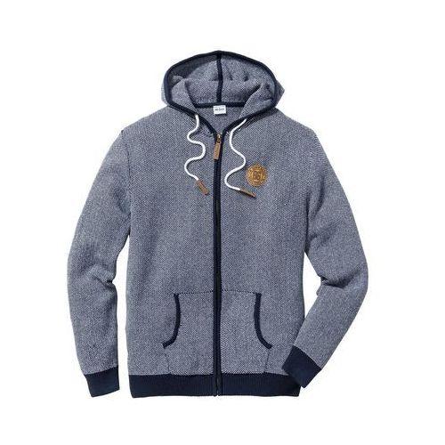 Sweter rozpinany Regular Fit bonprix ciemnoniebiesko-biały, kolor niebieski