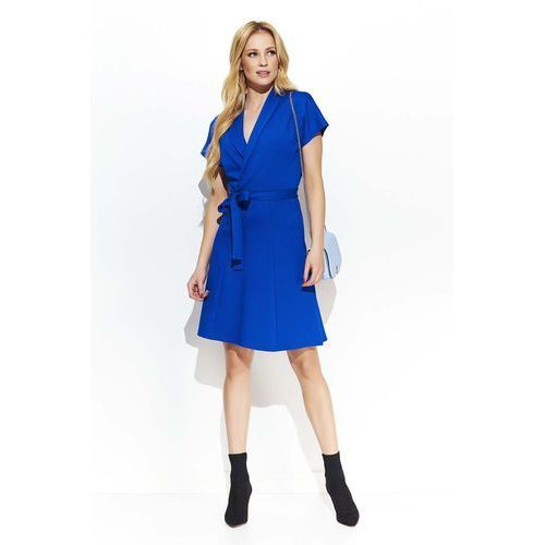 Chabrowa Elegancka Ołówkowa Sukienka z Krawatką, kolor niebieski