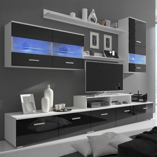 vidaXL Meblościanka RTV, czarna, wysoki połysk, z oświetleniem LED