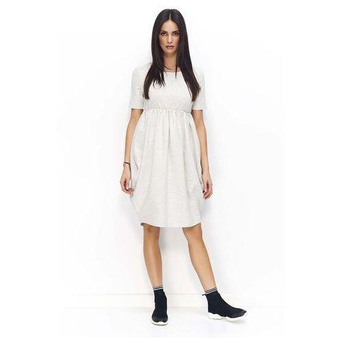 b24fb7d5ed Makadamia Beżowa sukienka bombka z krótkim rękawem i krótkim rękawem 108