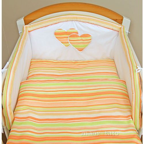 MAMO-TATO 2-el pościel flanelowa do wózka Serduszka w paseczkach marchewkowych - produkt dostępny w MAMO-TATO