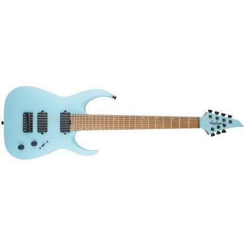 Jackson usa signature misha mansoor juggernaut ht7, caramelized flame maple fingerboard, satin daphne blue gitara elektryczna