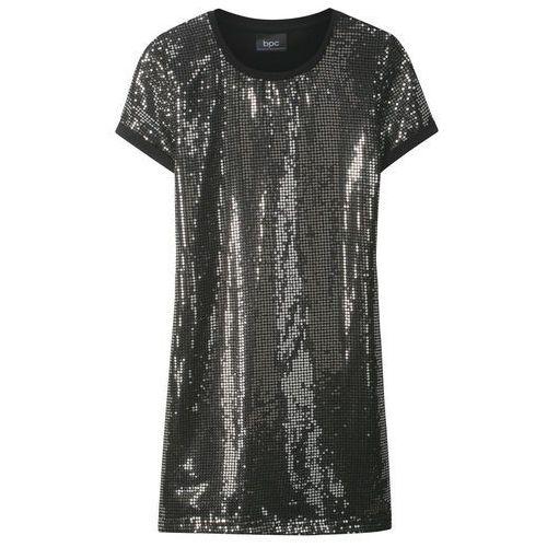 3a02d646ef767 Bonprix Sukienka dziewczęca z cekinami srebrno-czarny 74,99 zł Sukienka z  niedługimi rękawami i cekinami z przodu.