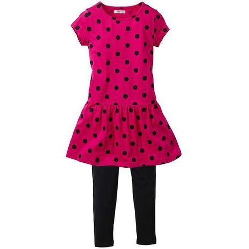 Sukienka + legginsy (2 części) bonprix czarno-ciemnoróżowy w groszki (sukienka dziecięca)