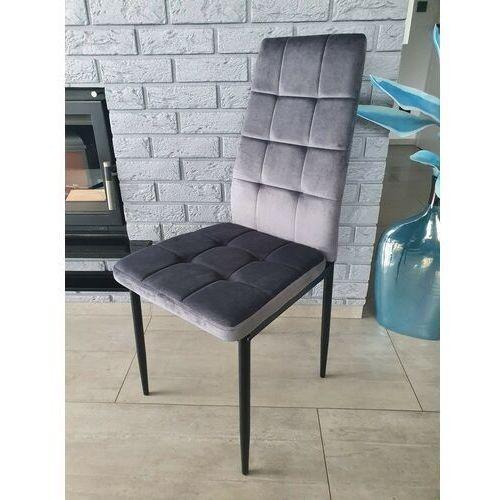 Krzesło tapicerowane - big 011 welur ciemno szare marki Zona meble