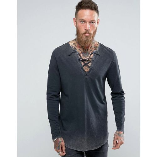 Asos super longline long-sleeve t-shirt with acid wash and lace-up neck - grey