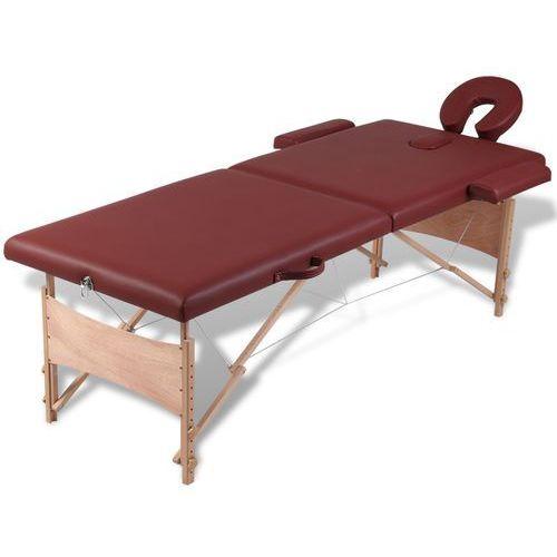 vidaXL Czerwony składany stół do masażu 2 strefy z drewnianą ramą - sprawdź w wybranym sklepie