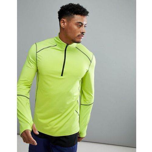 New Look SPORT Long Sleeve Top With Zip In Fluorescent Green - Yellow