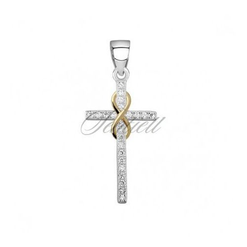 Silver (925) pendant cross with zirconia and gold-plated infinity sign - Z1543C_G