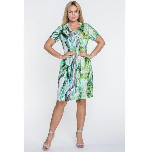 Sukienka w abstrakcyjne zielone wzory - Potis & Verso, kolor zielony