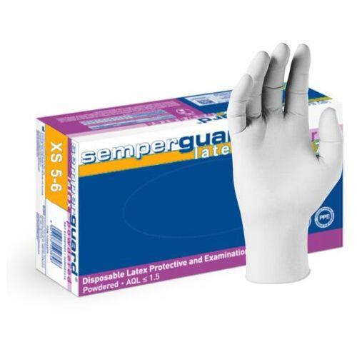 Semperit Lateksowe rękawice ochronne semperguard, pudrowane, białe 100 szt - roz. xs