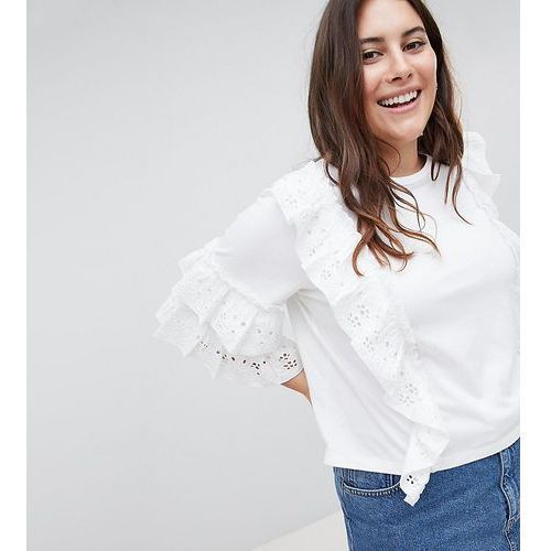 ASOS DESIGN Curve ruffle sleeve t-shirt with broderie detail - White, 1 rozmiar