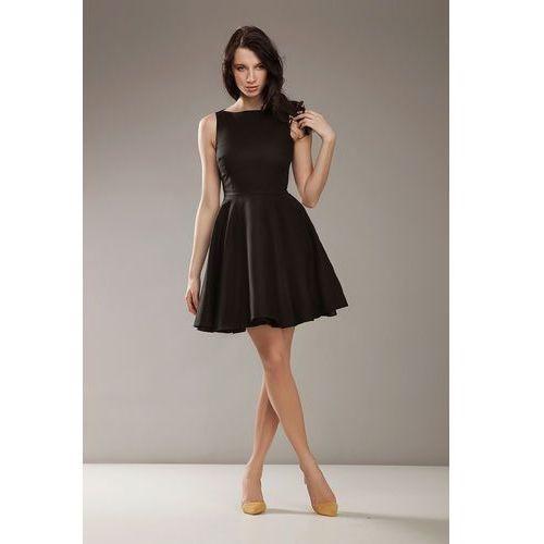 Czarna elegancka sukienka bez rękawów, Nife, 38-44