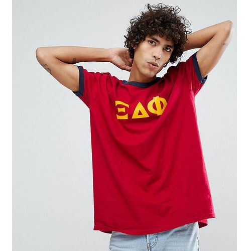 Reclaimed Vintage Inspired Ringer T-Shirt In Burgundy With Varsity Print - Red, 1 rozmiar
