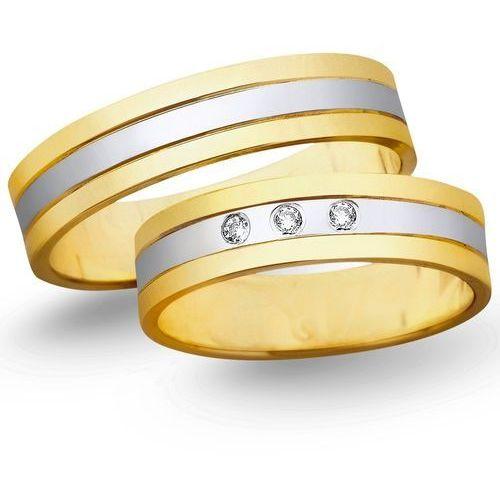 Obrączki ślubne z żółtego i białego złota 6mm - O2K/021 z kategorii Obrączki ślubne