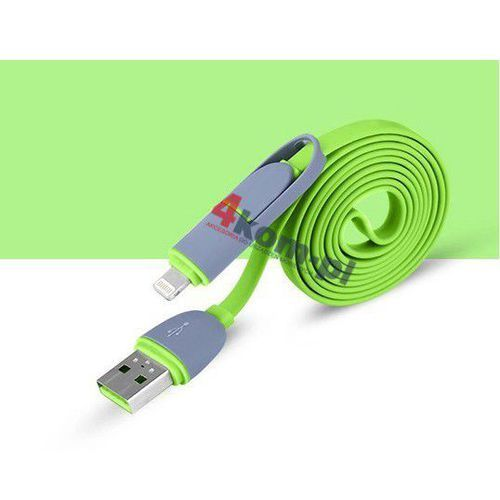 2w1 Kabel micro USB + LIGHTNING 8 pin do iPhone 5 5S 6 6+ - Zielony (kabel transmisyjny do telefonu)