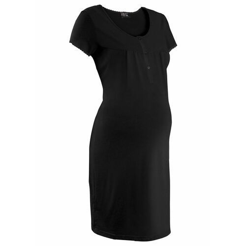 Koszula nocna ciążowa i do karmienia bonprix czarny, kolor czarny