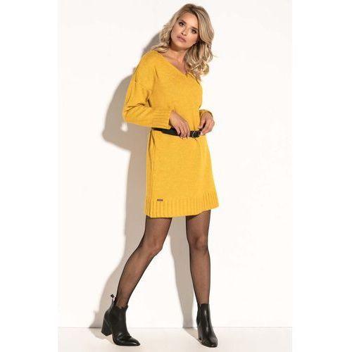 e765c76334 Żółta Krótka Sukienka Wełniana z Dekoltem V