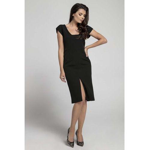 be629462c0 Nommo Czarna wyjściowa dopasowana sukienka z przewiązanym wycięciem na  plecach 123