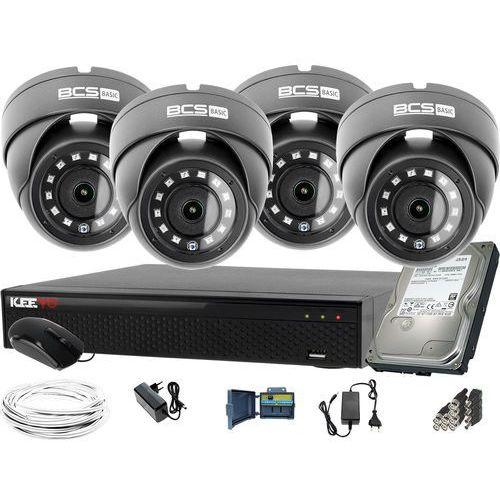 Bcs Zm12024 zestaw do monitoringu rejestrator lv-xvr44se-ii 4x kamera kopułowa fullhd dysk 1tb akcesoria