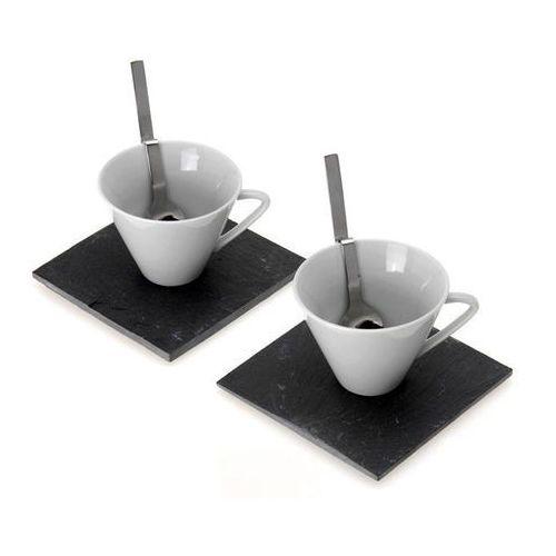 Zestaw dla 2 osób: ceramiczna filiżanka + widelczyk + kamienna podstawka