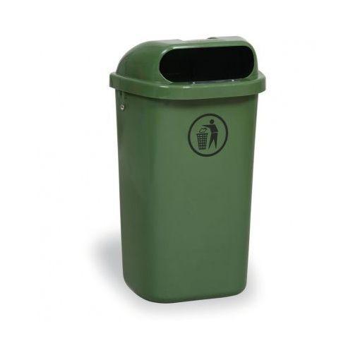 Zewnętrzny kosz na odpady na słupek DINO, ciemnozielony