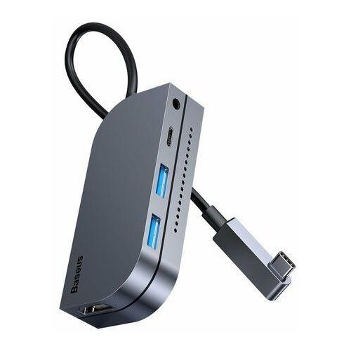 Baseus 6w1 wielofunkcyjny HUB USB Typ C, czytnik kart pamięci (USB 3.0, HDMI, micro SD) Power Delivery 60 W szary (CAHUB-CWJ0G)
