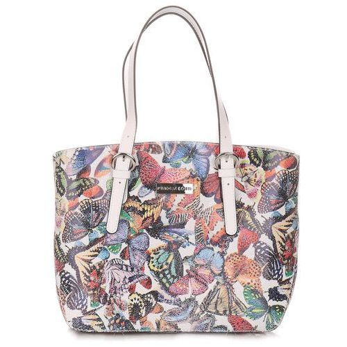 6aa71e0377111 Włoskie torebki skórzane kuferki damskie w motyle multikolorowe białe  (kolory) marki Vittoria gotti 269