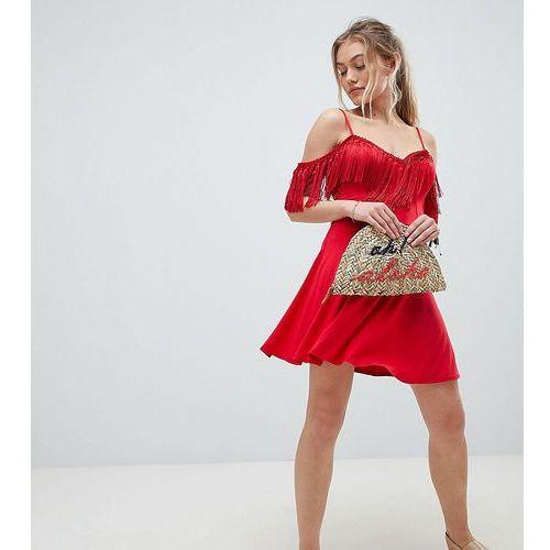 Asos design petite mini sundress with cold shoulder and tassel detail - red marki Asos petite