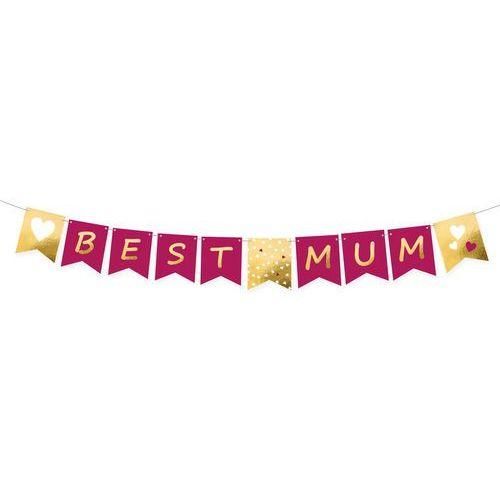 Baner z nadrukiem Best Mum na dzień matki - 15 cm x 180 cm - 1 szt.