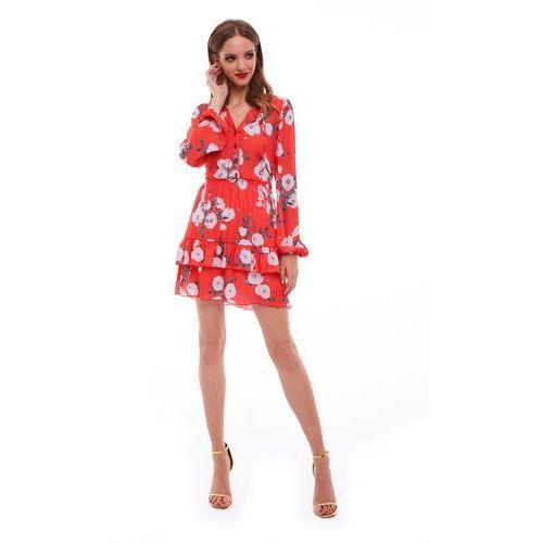 Sugarfree Sukienka sabia czerwona w kwiaty