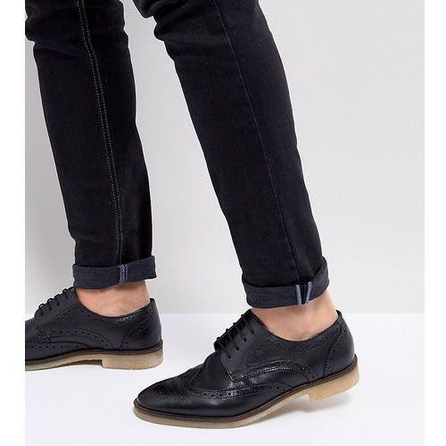 wide fit casual brogue shoes in black leather with natural sole - black marki Asos