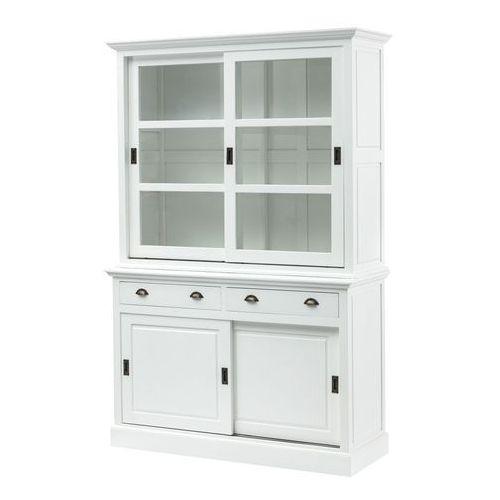 Dekoria Kredens New England white, 2 szuflady+ 2 drzwi przesuwne 143x52x215cm, 143 × 52 × 215 cm