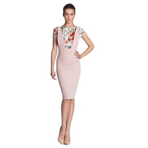 Sukienka ołówkowa z szelkami - róż - S116, kolor różowy