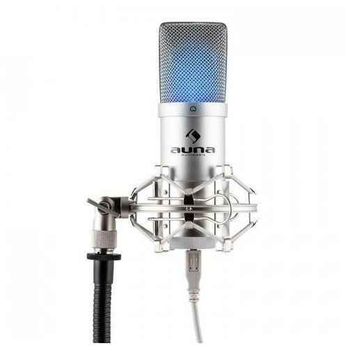 Mic-900s-led usb mikrofon pojemnościowysrebrny studyjny led marki Auna