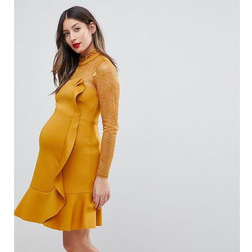 Asos maternity delicate lace & scuba ruffle shift mini dress - yellow