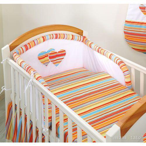 MAMO-TATO pościel flanelowa 2-el Serduszka w Paseczkach pomarańczowych do łóżeczka 60x120cm