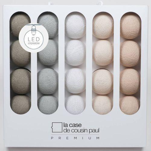 LOU - Girlanda świetlna Premium LED Biały/Perłowy/Gliniany/Kość Słoniowa Dł.3,2m, Coffret Premium Patti