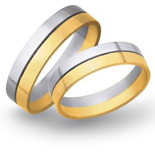 Obrączki ślubne z żółtego i białego złota 5mm - O2K/073, kup u jednego z partnerów