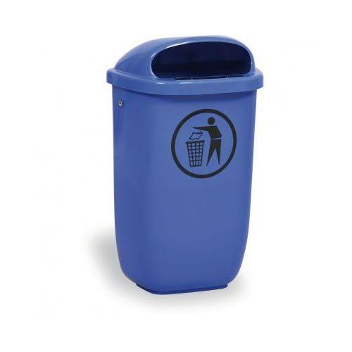 Zewnętrzny kosz na odpady na słupek DINO, niebieski