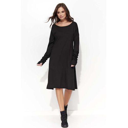 Czarna Sukienka Trapezowa z Marszczonym Rękawem
