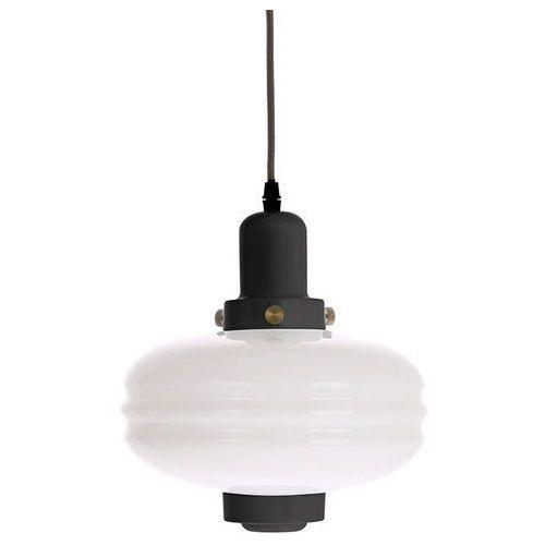 HK Living Lampa wisząca rozmiar M białe szkło/ czarne akcenty VOL5038, kolor biało-czarny;biało-czarny