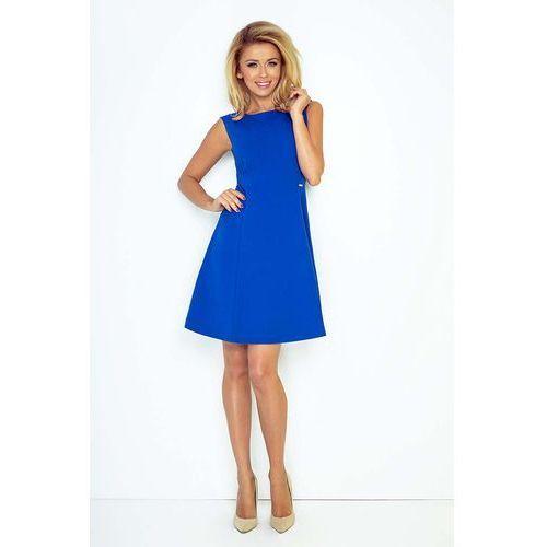 Chabrowa Sukienka Trapezowa Mini bez Rękawów, kolor niebieski