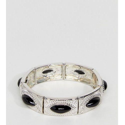 ASOS CURVE Exclusive Engraved Stone Stretch Bracelet - Silver